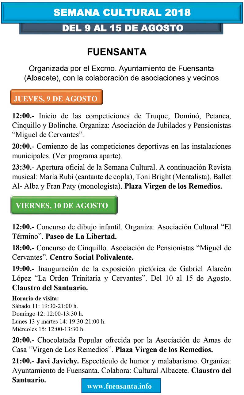 Programa semana cultural 2018